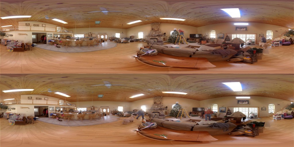 A still frame from a 360 stereoscopic over/under video. Playback software feeds a warped portion of each image to each of the viewers eyes.